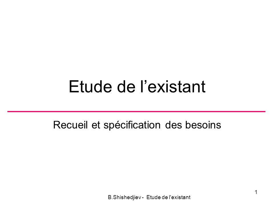 Etude de lexistant Recueil et spécification des besoins B.Shishedjiev - Etude de l existant 1