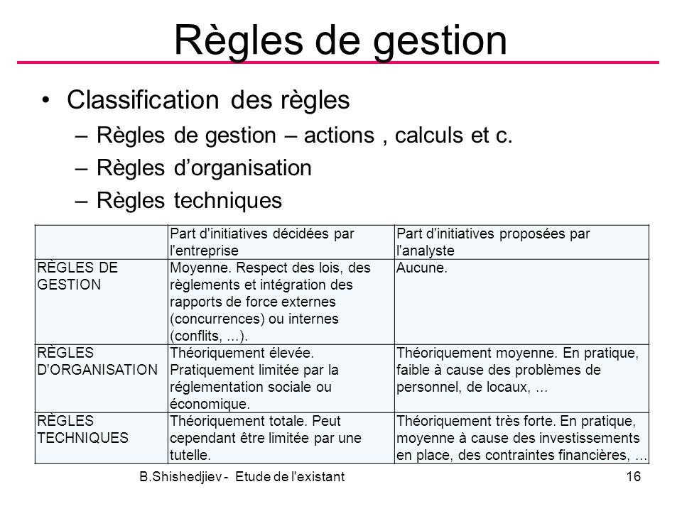 Règles de gestion Classification des règles –Règles de gestion – actions, calculs et c.