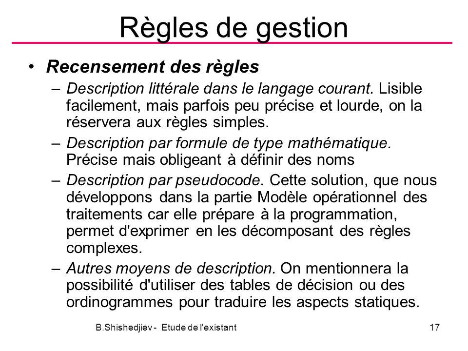 Règles de gestion Recensement des règles –Description littérale dans le langage courant.