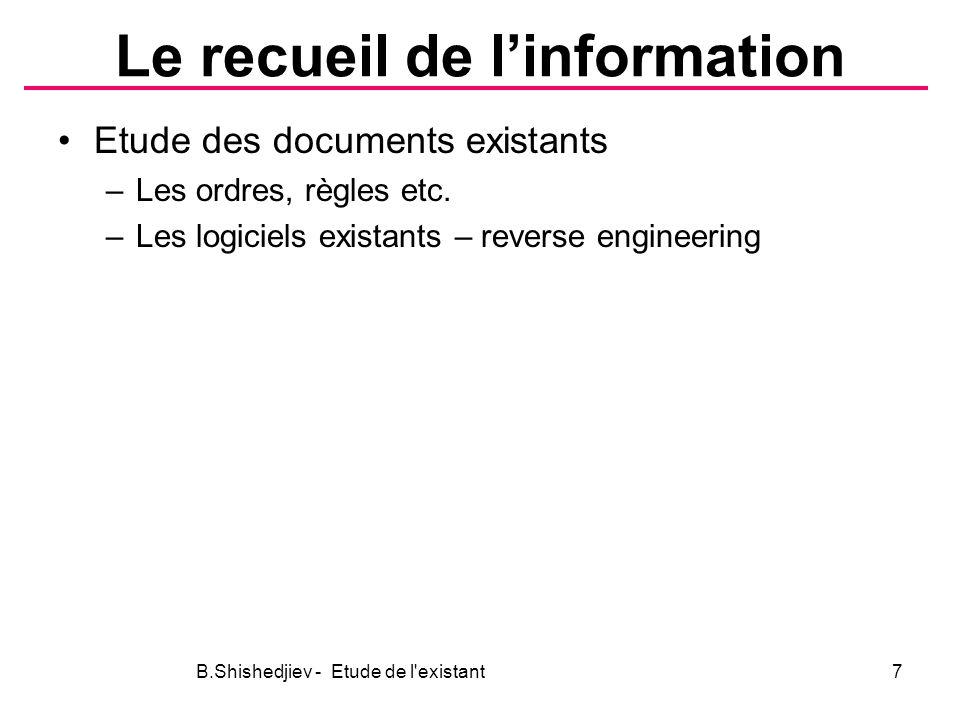 Le recueil de linformation Etude des documents existants –Les ordres, règles etc.