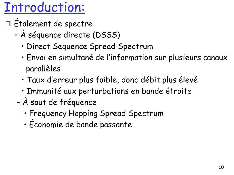 10 Introduction: r Étalement de spectre – À séquence directe (DSSS) Direct Sequence Spread Spectrum Envoi en simultané de linformation sur plusieurs c