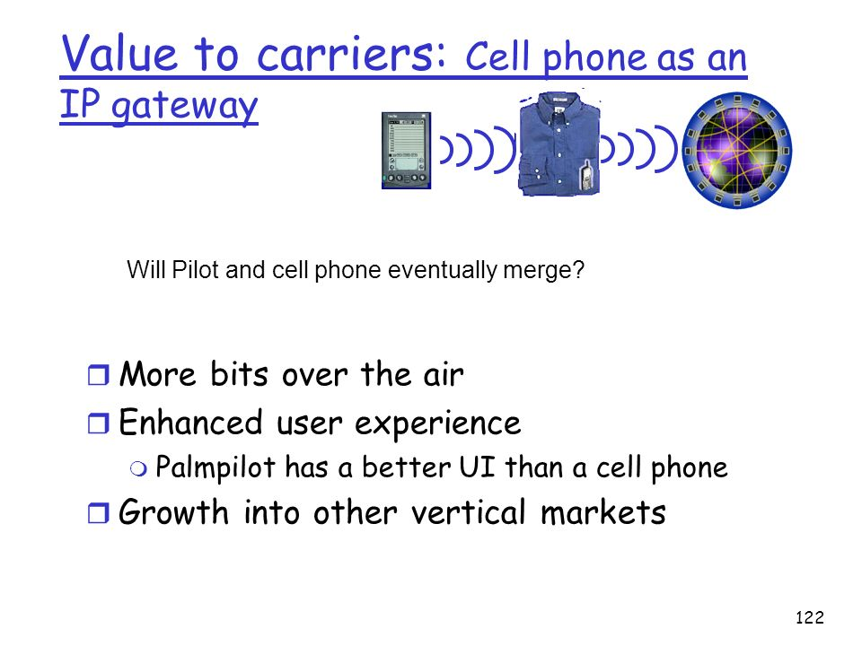 122 Value to carriers: Cell phone as an IP gateway r More bits over the air r Enhanced user experience m Palmpilot has a better UI than a cell phone r