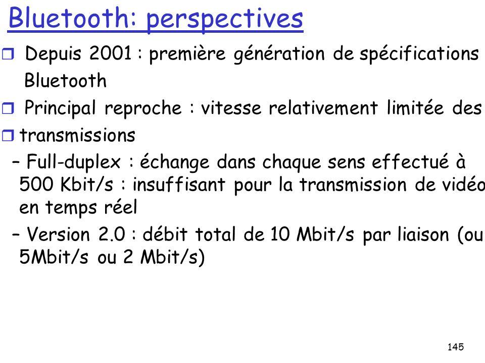 145 Bluetooth: perspectives r Depuis 2001 : première génération de spécifications Bluetooth r Principal reproche : vitesse relativement limitée des r transmissions – Full-duplex : échange dans chaque sens effectué à 500 Kbit/s : insuffisant pour la transmission de vidéo en temps réel – Version 2.0 : débit total de 10 Mbit/s par liaison (ou 5Mbit/s ou 2 Mbit/s)