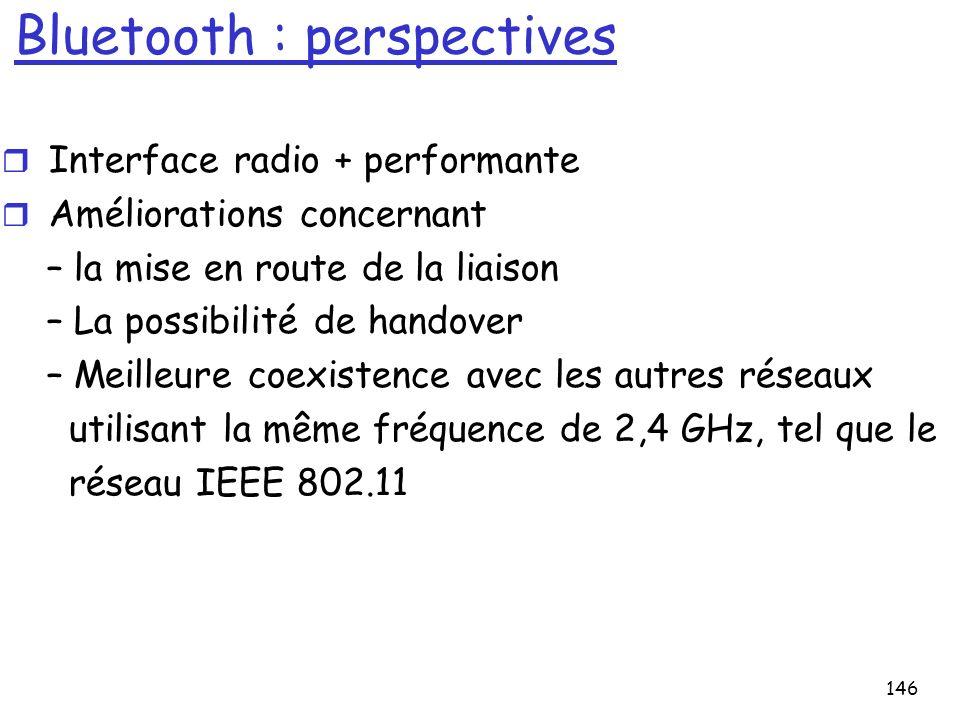 146 Bluetooth : perspectives r Interface radio + performante r Améliorations concernant – la mise en route de la liaison – La possibilité de handover