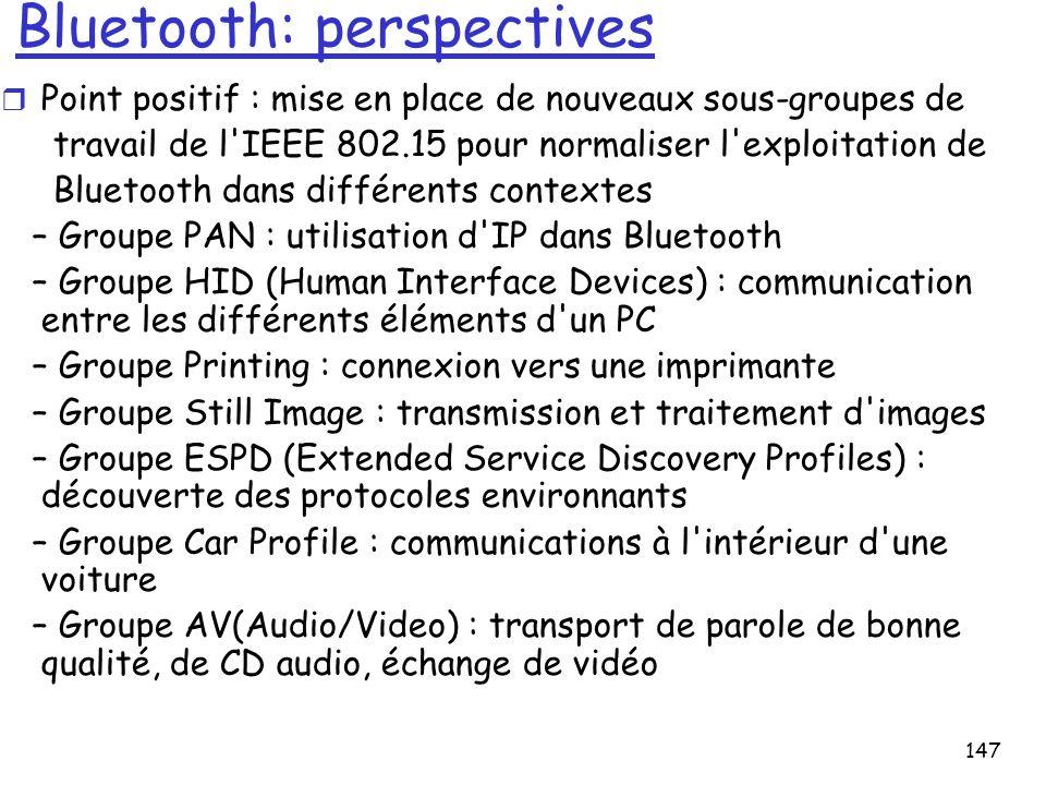 147 Bluetooth: perspectives r Point positif : mise en place de nouveaux sous-groupes de travail de l'IEEE 802.15 pour normaliser l'exploitation de Blu