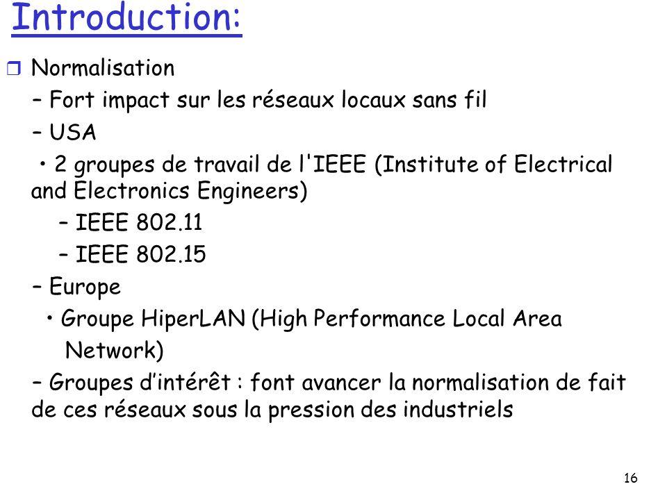 16 Introduction: r Normalisation – Fort impact sur les réseaux locaux sans fil – USA 2 groupes de travail de l'IEEE (Institute of Electrical and Elect