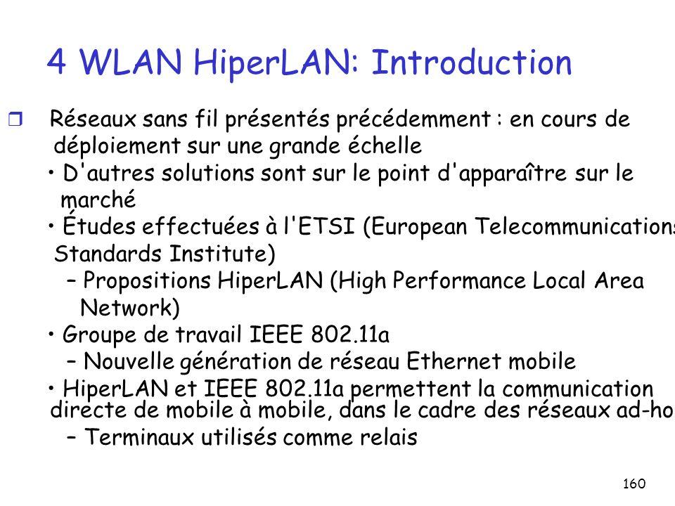 160 4 WLAN HiperLAN: Introduction r Réseaux sans fil présentés précédemment : en cours de déploiement sur une grande échelle D autres solutions sont sur le point d apparaître sur le marché Études effectuées à l ETSI (European Telecommunications Standards Institute) – Propositions HiperLAN (High Performance Local Area Network) Groupe de travail IEEE 802.11a – Nouvelle génération de réseau Ethernet mobile HiperLAN et IEEE 802.11a permettent la communication directe de mobile à mobile, dans le cadre des réseaux ad-hoc – Terminaux utilisés comme relais