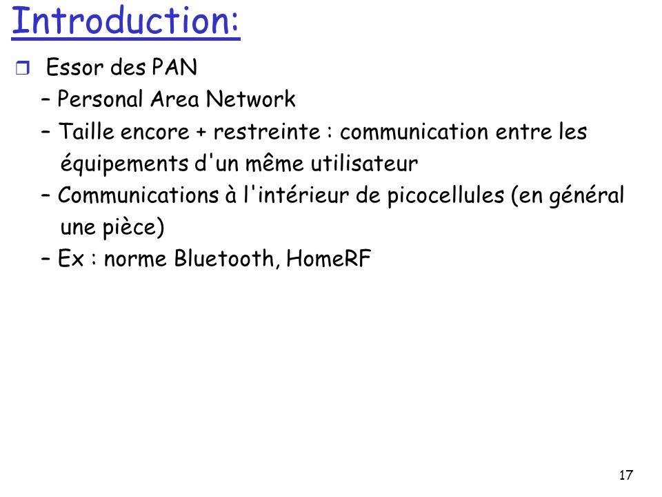 17 Introduction: r Essor des PAN – Personal Area Network – Taille encore + restreinte : communication entre les équipements d'un même utilisateur – Co