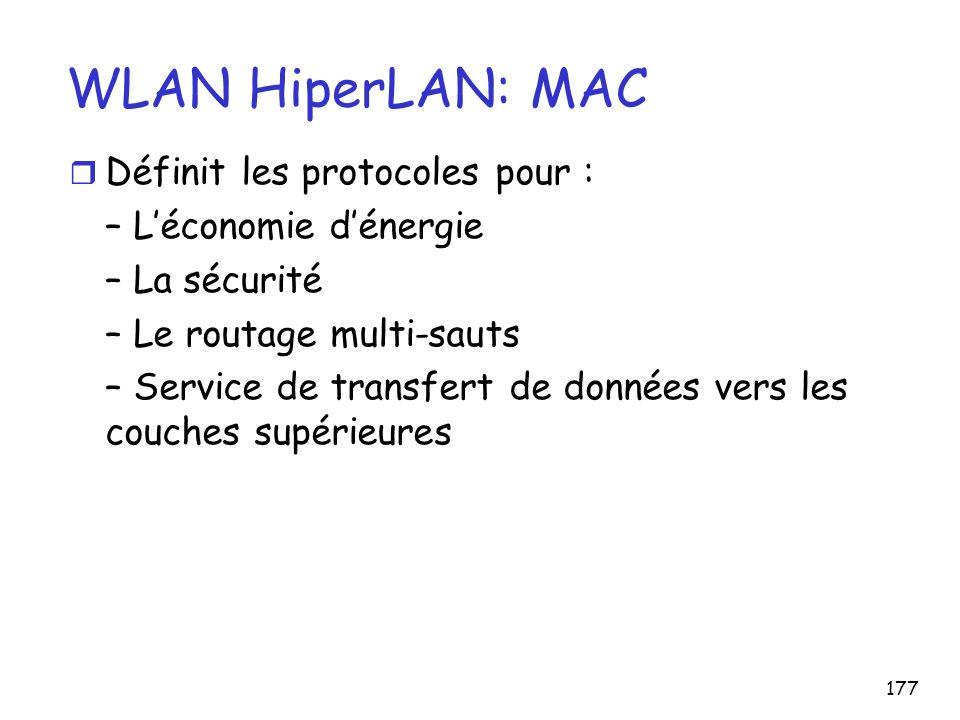 177 WLAN HiperLAN: MAC r Définit les protocoles pour : – Léconomie dénergie – La sécurité – Le routage multi-sauts – Service de transfert de données v