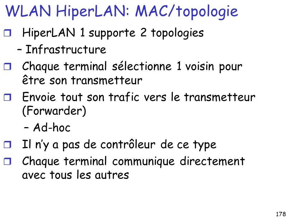 178 WLAN HiperLAN: MAC/topologie r HiperLAN 1 supporte 2 topologies – Infrastructure r Chaque terminal sélectionne 1 voisin pour être son transmetteur