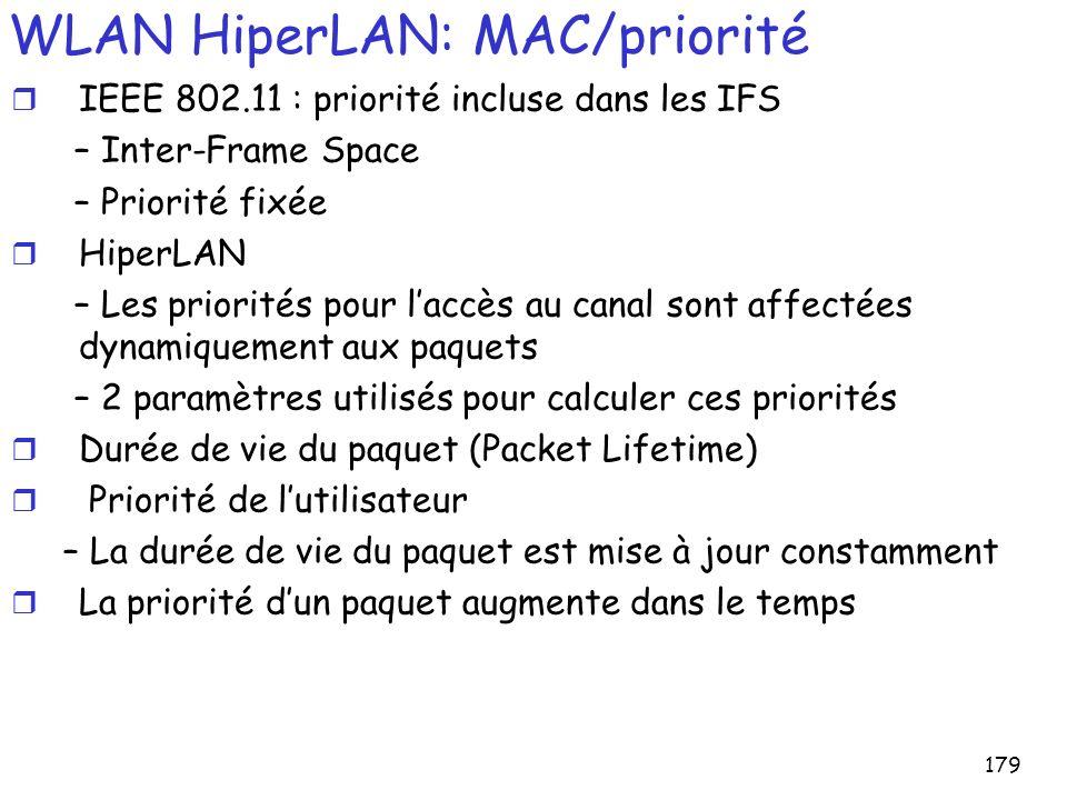 179 WLAN HiperLAN: MAC/priorité r IEEE 802.11 : priorité incluse dans les IFS – Inter-Frame Space – Priorité fixée r HiperLAN – Les priorités pour laccès au canal sont affectées dynamiquement aux paquets – 2 paramètres utilisés pour calculer ces priorités r Durée de vie du paquet (Packet Lifetime) r Priorité de lutilisateur – La durée de vie du paquet est mise à jour constamment r La priorité dun paquet augmente dans le temps
