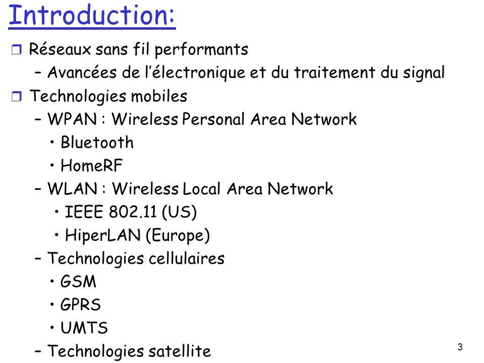 3 Introduction: r Réseaux sans fil performants – Avancées de lélectronique et du traitement du signal r Technologies mobiles – WPAN : Wireless Personal Area Network Bluetooth HomeRF – WLAN : Wireless Local Area Network IEEE 802.11 (US) HiperLAN (Europe) – Technologies cellulaires GSM GPRS UMTS – Technologies satellite
