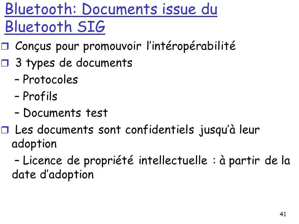 41 Bluetooth: Documents issue du Bluetooth SIG r Conçus pour promouvoir lintéropérabilité r 3 types de documents – Protocoles – Profils – Documents te