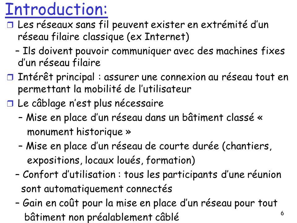6 Introduction: r Les réseaux sans fil peuvent exister en extrémité dun réseau filaire classique (ex Internet) – Ils doivent pouvoir communiquer avec