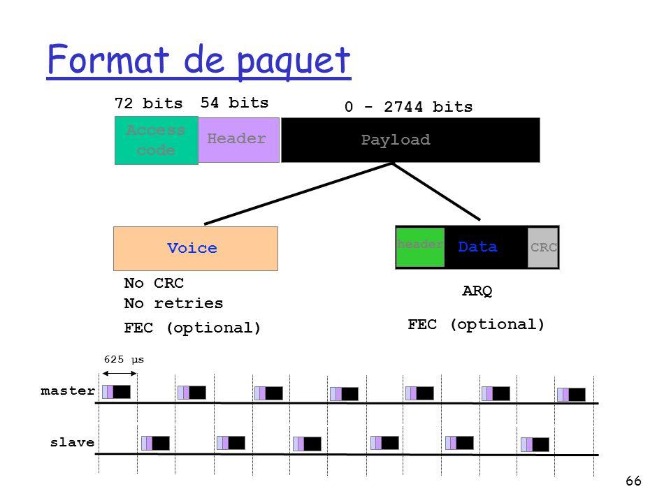66 Format de paquet 72 bits 54 bits 0 - 2744 bits Access code Header Payload Data Voice CRC No CRC No retries 625 µs master slave header ARQ FEC (optional)