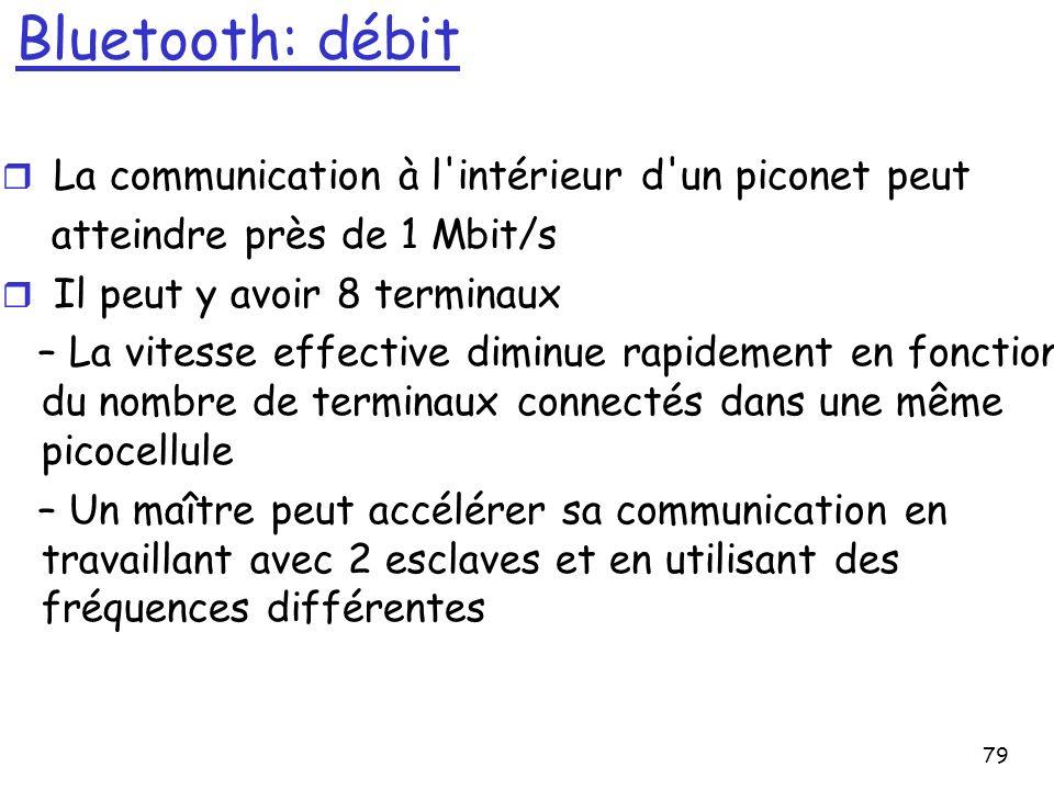 79 Bluetooth: débit r La communication à l intérieur d un piconet peut atteindre près de 1 Mbit/s r Il peut y avoir 8 terminaux – La vitesse effective diminue rapidement en fonction du nombre de terminaux connectés dans une même picocellule – Un maître peut accélérer sa communication en travaillant avec 2 esclaves et en utilisant des fréquences différentes