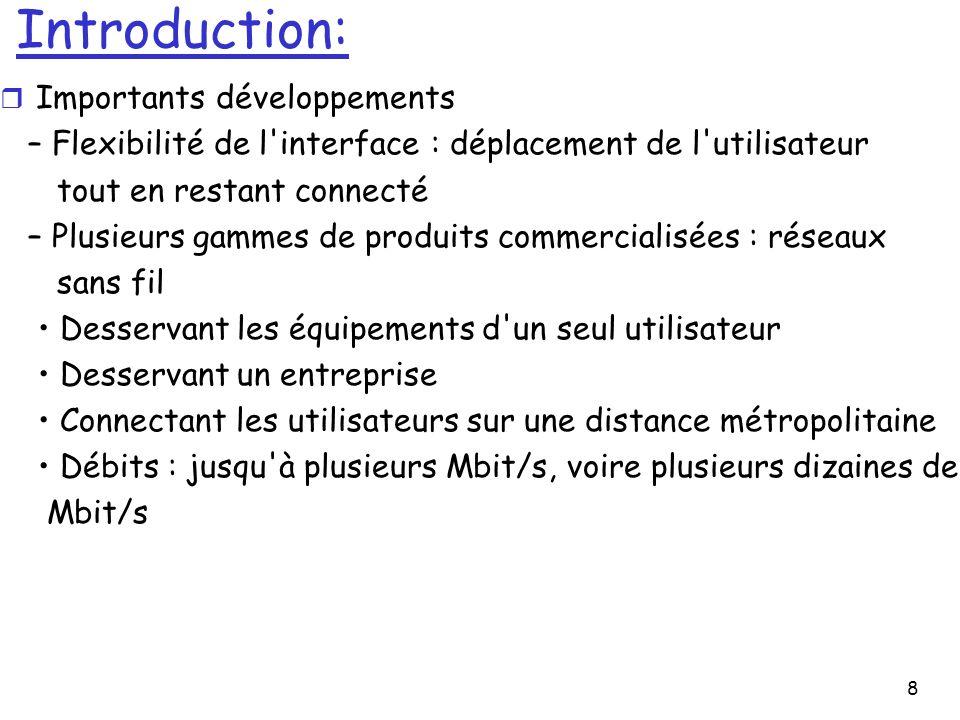 8 Introduction: r Importants développements – Flexibilité de l'interface : déplacement de l'utilisateur tout en restant connecté – Plusieurs gammes de