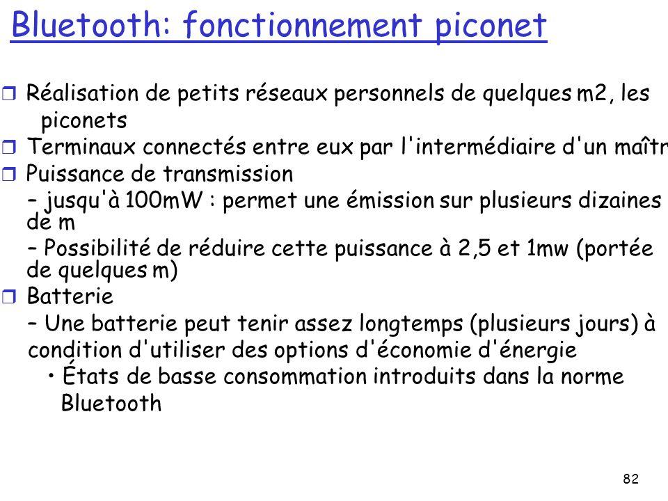 82 Bluetooth: fonctionnement piconet r Réalisation de petits réseaux personnels de quelques m2, les piconets r Terminaux connectés entre eux par l intermédiaire d un maître r Puissance de transmission – jusqu à 100mW : permet une émission sur plusieurs dizaines de m – Possibilité de réduire cette puissance à 2,5 et 1mw (portée de quelques m) r Batterie – Une batterie peut tenir assez longtemps (plusieurs jours) à condition d utiliser des options d économie d énergie États de basse consommation introduits dans la norme Bluetooth