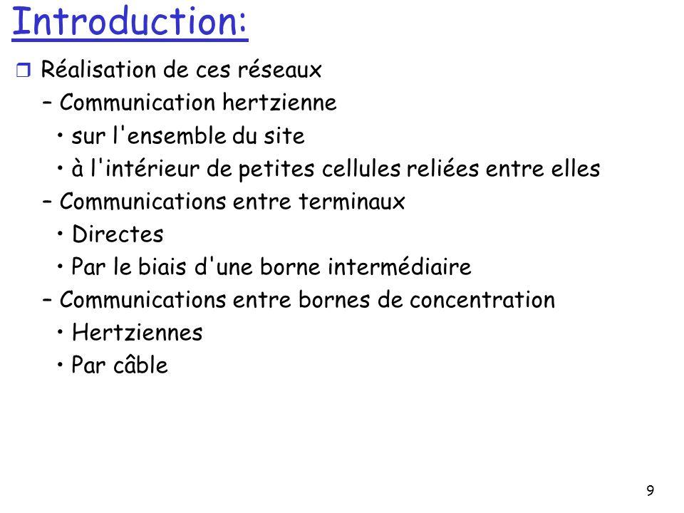 9 Introduction: r Réalisation de ces réseaux – Communication hertzienne sur l'ensemble du site à l'intérieur de petites cellules reliées entre elles –