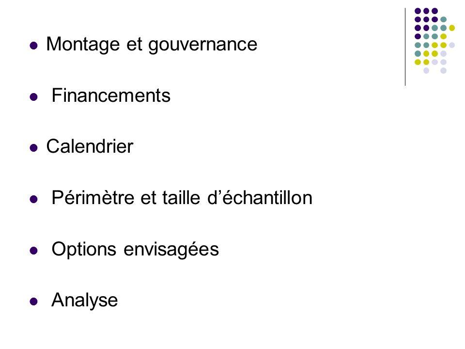 Montage et gouvernance Financements Calendrier Périmètre et taille déchantillon Options envisagées Analyse
