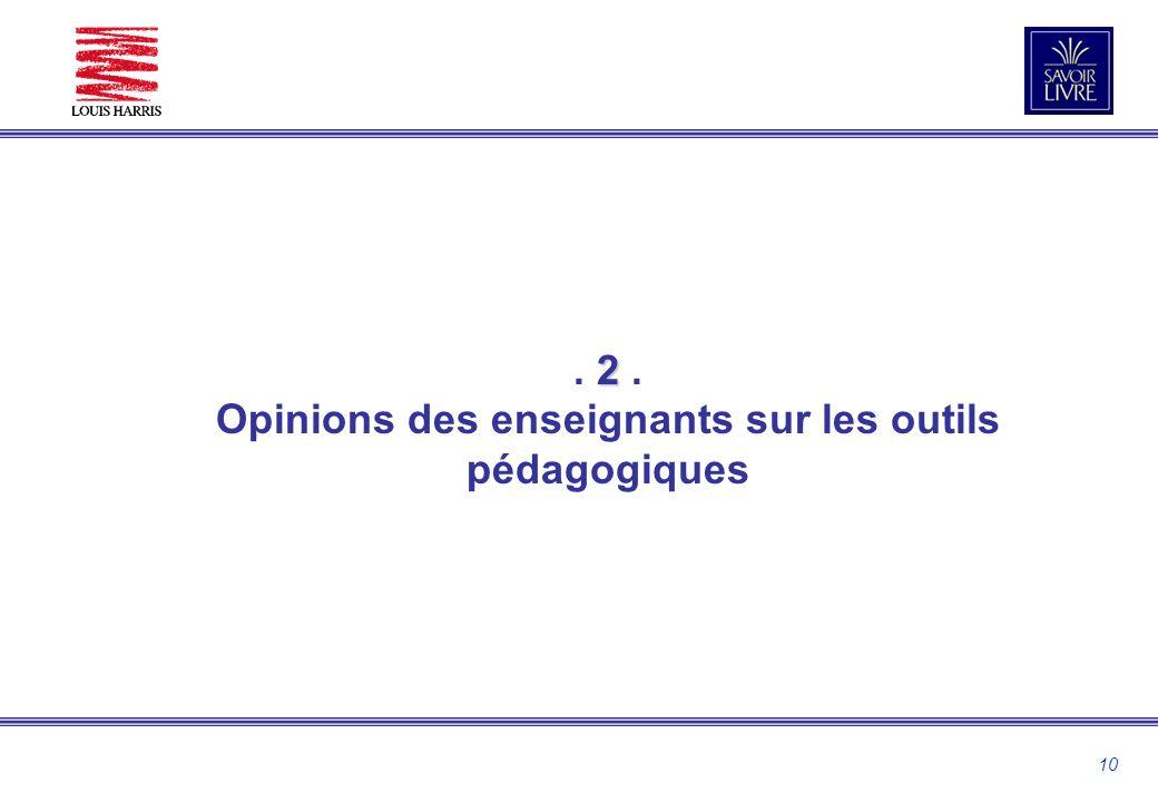 10 2. 2. Opinions des enseignants sur les outils pédagogiques