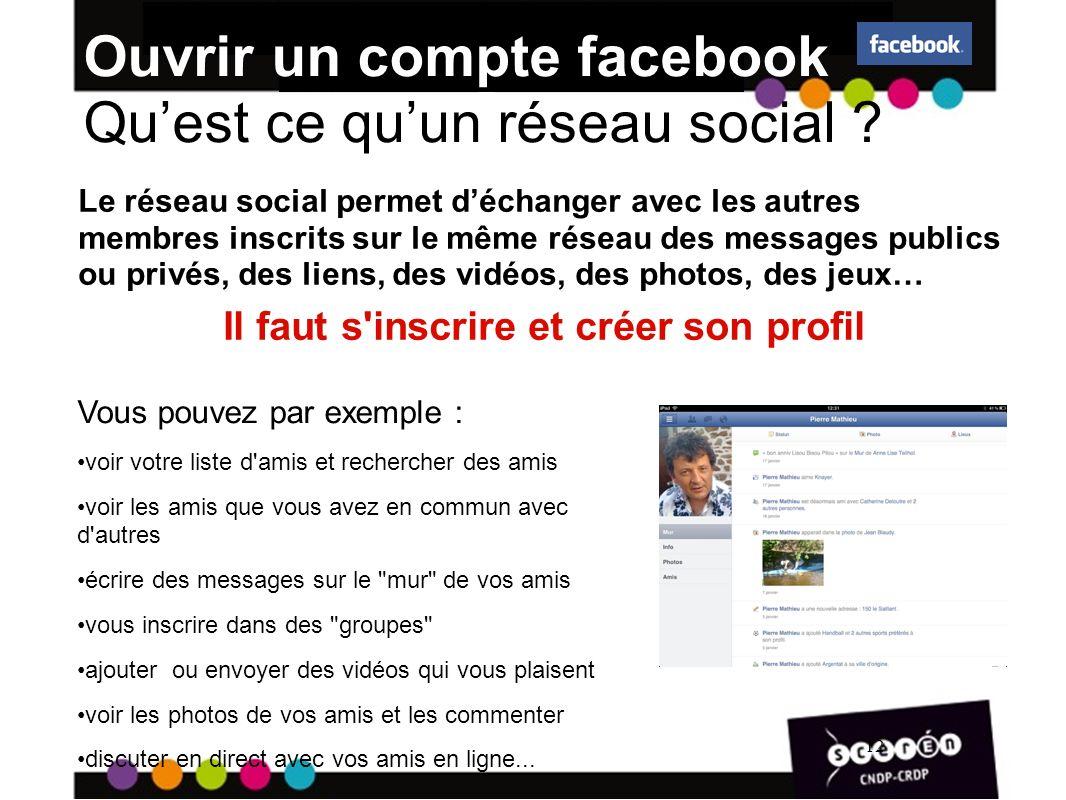 12 Ouvrir un compte facebook Quest ce quun réseau social .