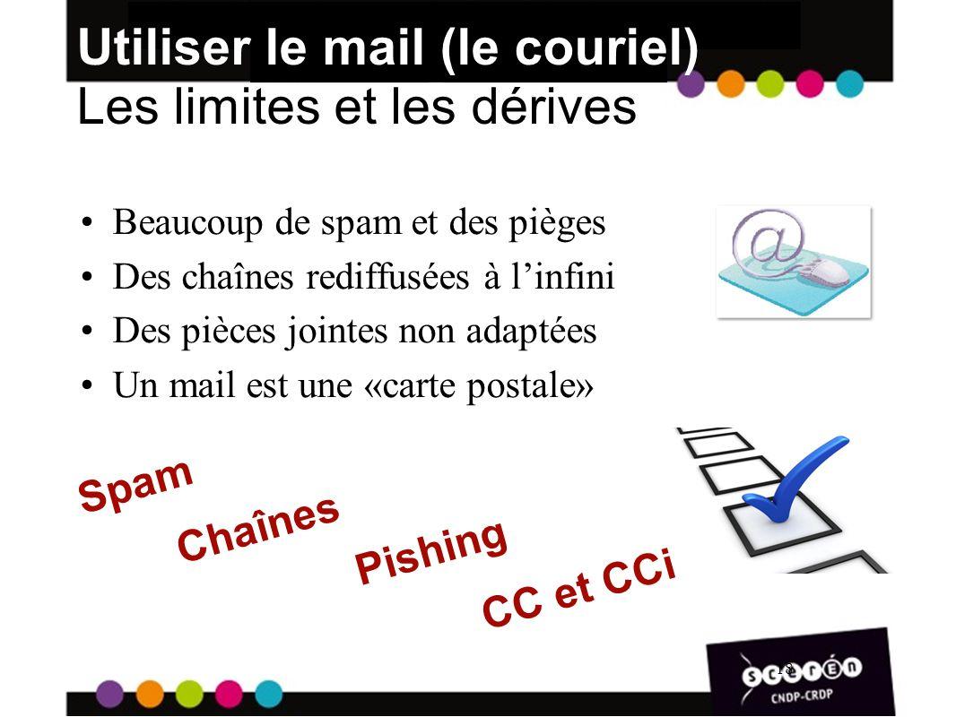 18 Utiliser le mail (le couriel) Les limites et les dérives Beaucoup de spam et des pièges Des chaînes rediffusées à linfini Des pièces jointes non adaptées Un mail est une «carte postale» 18 Spam Pishing Chaînes CC et CCi