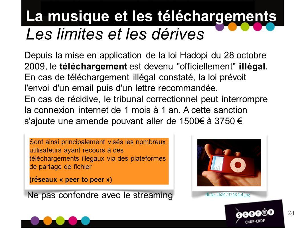 24 La musique et les téléchargements Les limites et les dérives 24 Depuis la mise en application de la loi Hadopi du 28 octobre 2009, le téléchargement est devenu officiellement illégal.