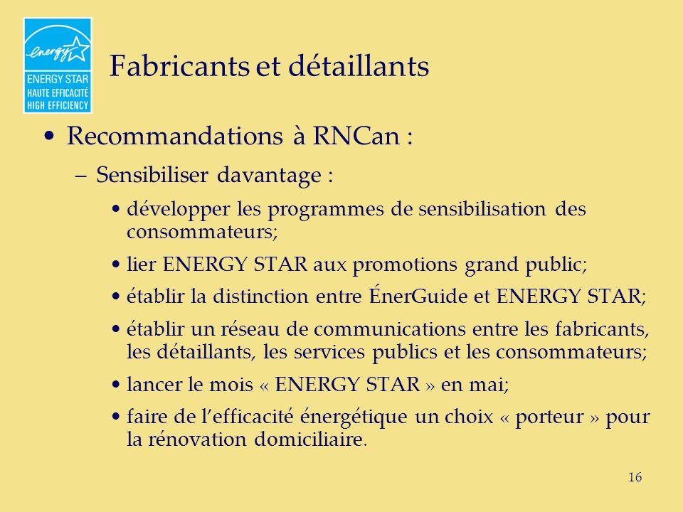 16 Fabricants et détaillants Recommandations à RNCan : –Sensibiliser davantage : développer les programmes de sensibilisation des consommateurs; lier ENERGY STAR aux promotions grand public; établir la distinction entre ÉnerGuide et ENERGY STAR; établir un réseau de communications entre les fabricants, les détaillants, les services publics et les consommateurs; lancer le mois « ENERGY STAR » en mai; faire de lefficacité énergétique un choix « porteur » pour la rénovation domiciliaire.