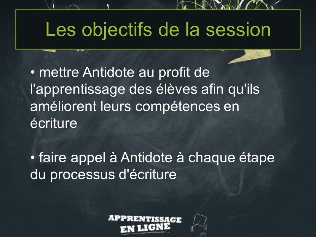 Agenda de la session 1.Linterface dAntidote – Trucs et astuces 2.Utilisation des dictionnaires 3.Antidote et le processus décriture