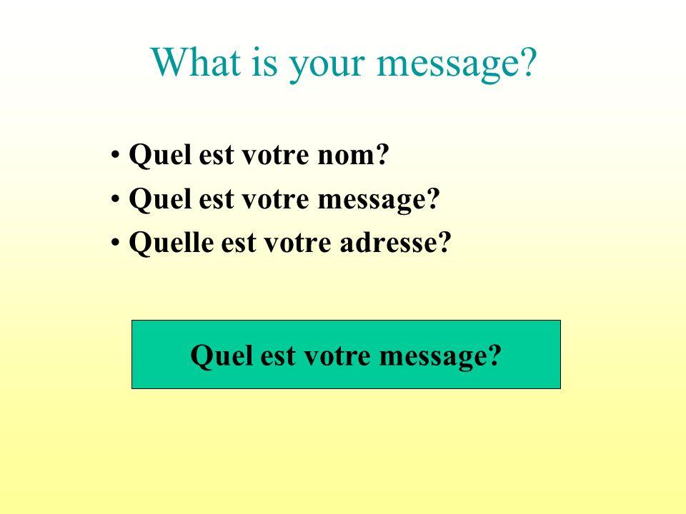 What is your message.Quel est votre nom. Quel est votre message.
