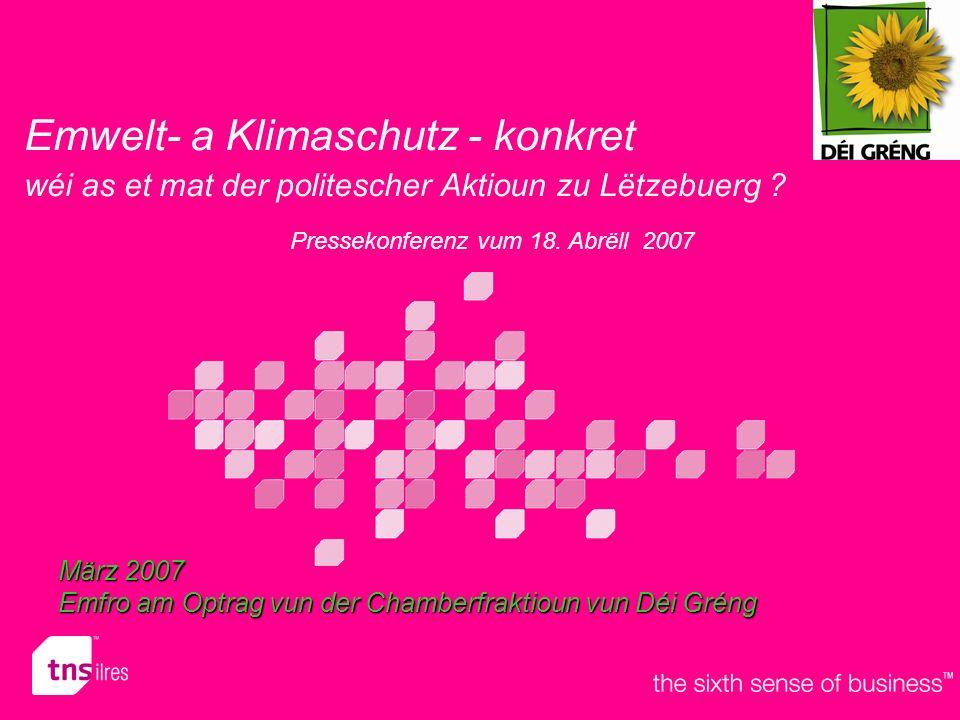 Emwelt- a Klimaschutz - konkret wéi as et mat der politescher Aktioun zu Lëtzebuerg .