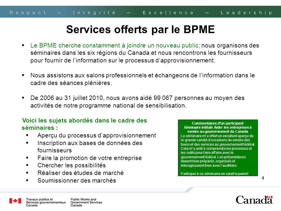 44 Le BPME cherche constamment à joindre un nouveau public; nous organisons des séminaires dans les six régions du Canada et nous rencontrons les fournisseurs pour fournir de linformation sur le processus dapprovisionnement.
