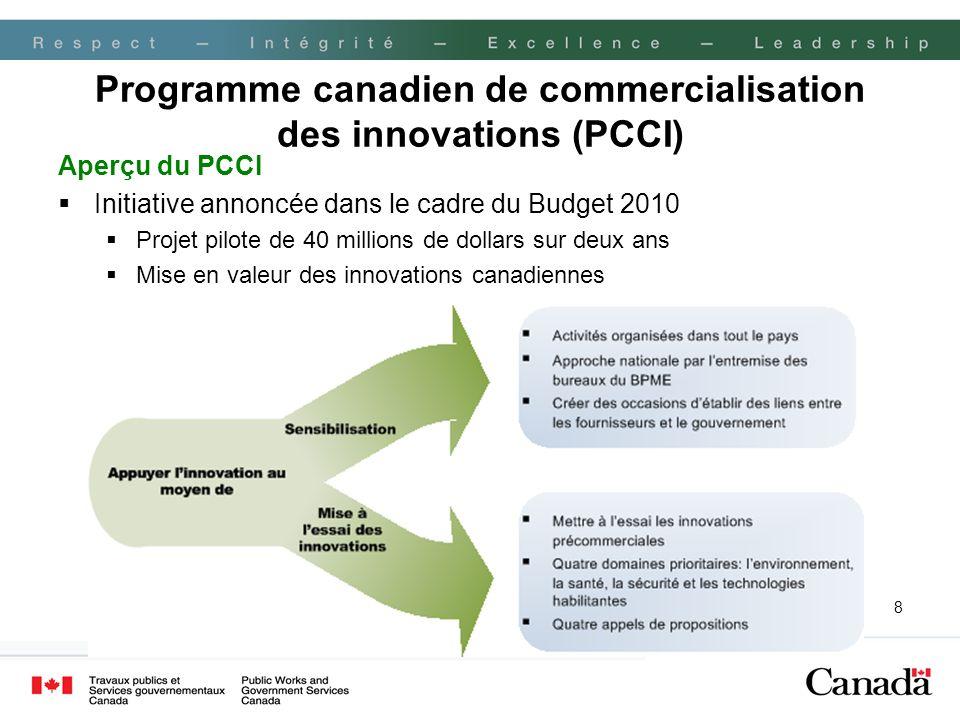 8 Programme canadien de commercialisation des innovations (PCCI) Aperçu du PCCI Initiative annoncée dans le cadre du Budget 2010 Projet pilote de 40 millions de dollars sur deux ans Mise en valeur des innovations canadiennes