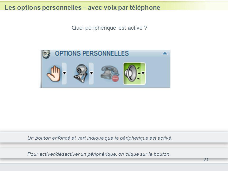 Les options personnelles – avec voix par téléphone 21 Quel périphérique est activé ? Un bouton enfoncé et vert indique que le périphérique est activé.