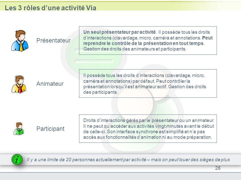 Les 3 rôles dune activité Via 26 Présentateur Animateur Participant Un seul présentateur par activité. Il possède tous les droits dinteractions (clava