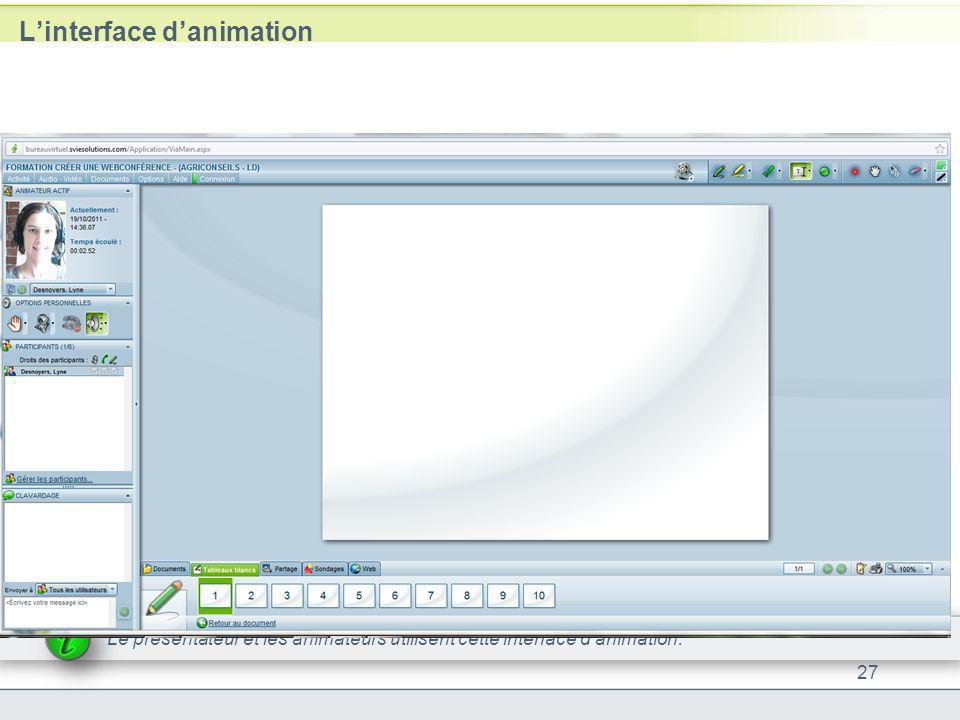 Linterface danimation 27 Le présentateur et les animateurs utilisent cette interface danimation.