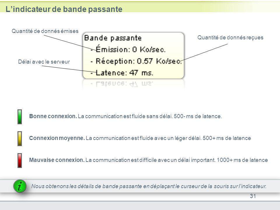 Lindicateur de bande passante 31 Quantité de donnés reçues Quantité de donnés émises Délai avec le serveur Nous obtenons les détails de bande passante