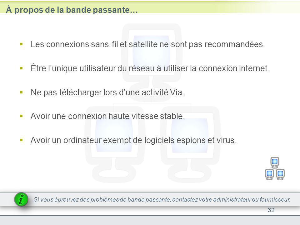À propos de la bande passante… Les connexions sans-fil et satellite ne sont pas recommandées. Être lunique utilisateur du réseau à utiliser la connexi