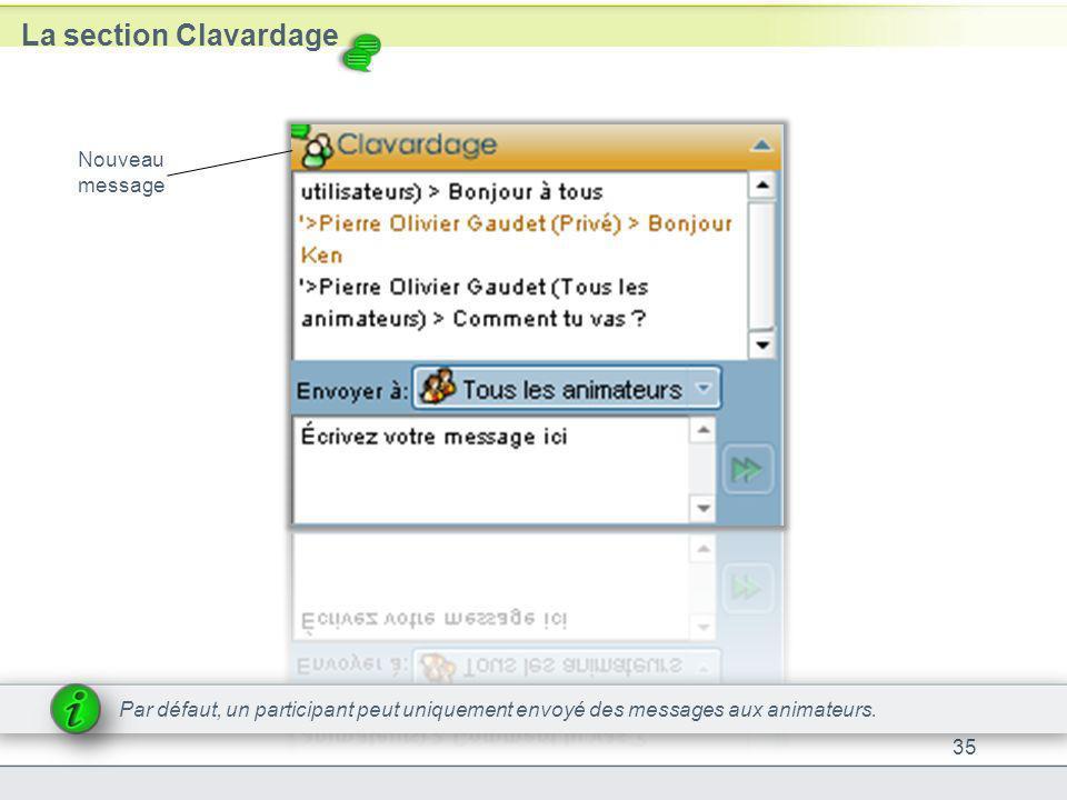 La section Clavardage 35 Nouveau message Par défaut, un participant peut uniquement envoyé des messages aux animateurs.