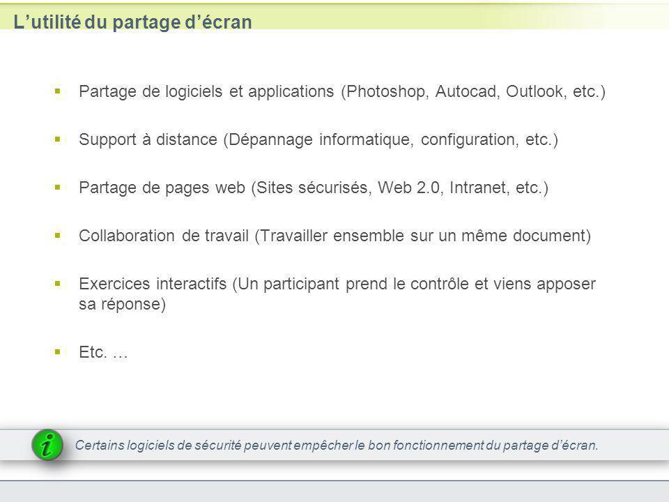 Lutilité du partage décran Partage de logiciels et applications (Photoshop, Autocad, Outlook, etc.) Support à distance (Dépannage informatique, config