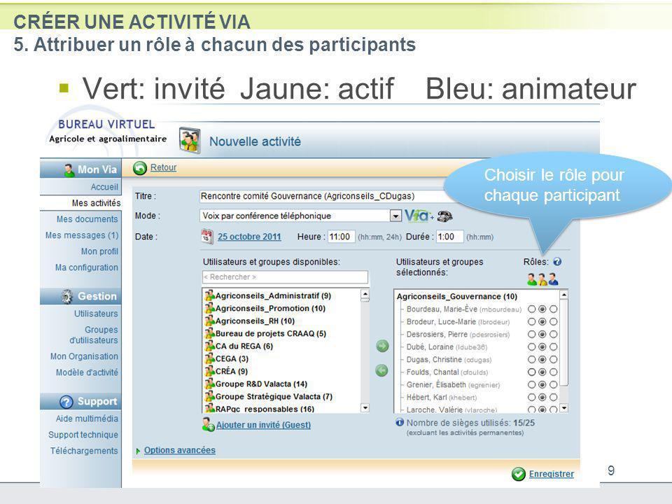 CRÉER UNE ACTIVITÉ VIA 5. Attribuer un rôle à chacun des participants Vert: invité Jaune: actif Bleu: animateur 9 Choisir le rôle pour chaque particip