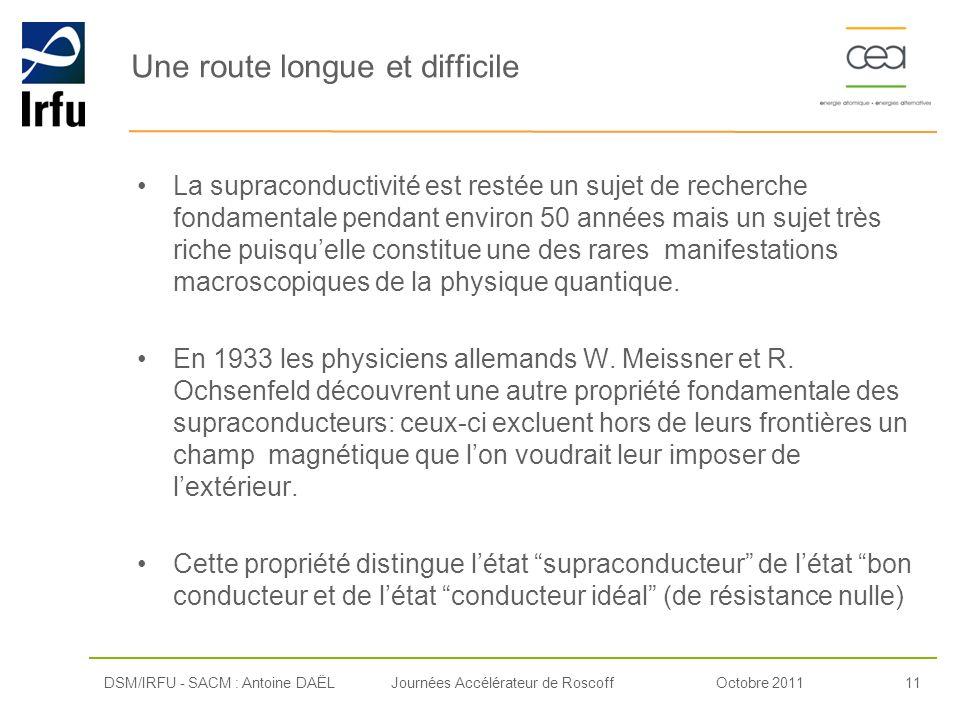 Octobre 201111Journées Accélérateur de Roscoff Une route longue et difficile La supraconductivité est restée un sujet de recherche fondamentale pendan