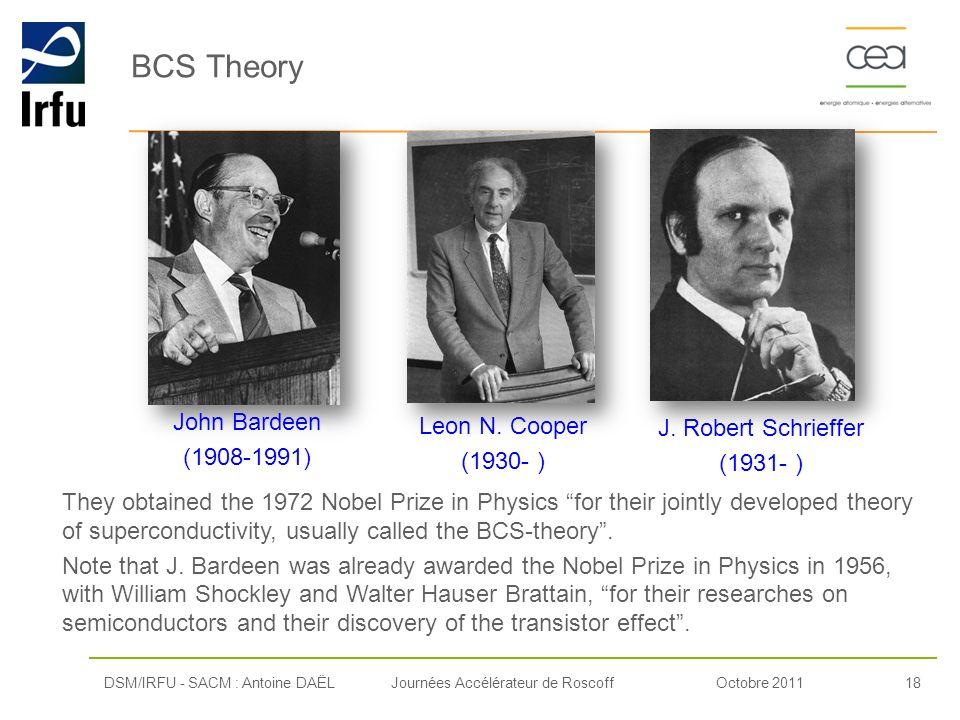 Octobre 201118Journées Accélérateur de Roscoff BCS Theory DSM/IRFU - SACM : Antoine DAËL John Bardeen (1908-1991) Leon N. Cooper (1930- ) J. Robert Sc