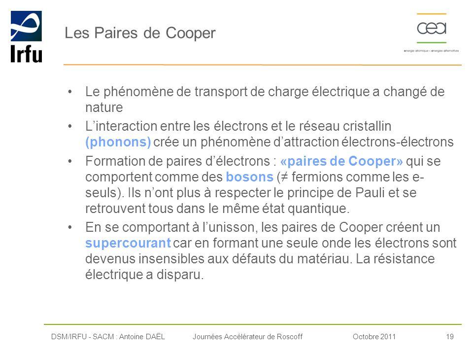 Octobre 201119Journées Accélérateur de Roscoff Les Paires de Cooper Le phénomène de transport de charge électrique a changé de nature Linteraction ent