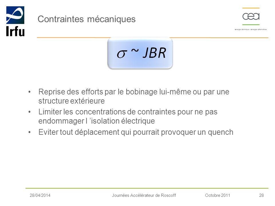 Octobre 201128Journées Accélérateur de Roscoff Reprise des efforts par le bobinage lui-même ou par une structure extérieure Limiter les concentrations