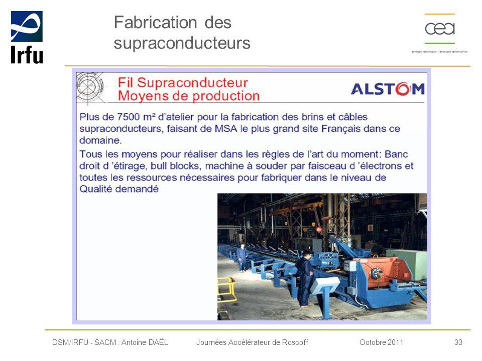 Octobre 201133Journées Accélérateur de RoscoffDSM/IRFU - SACM : Antoine DAËL Fabrication des supraconducteurs