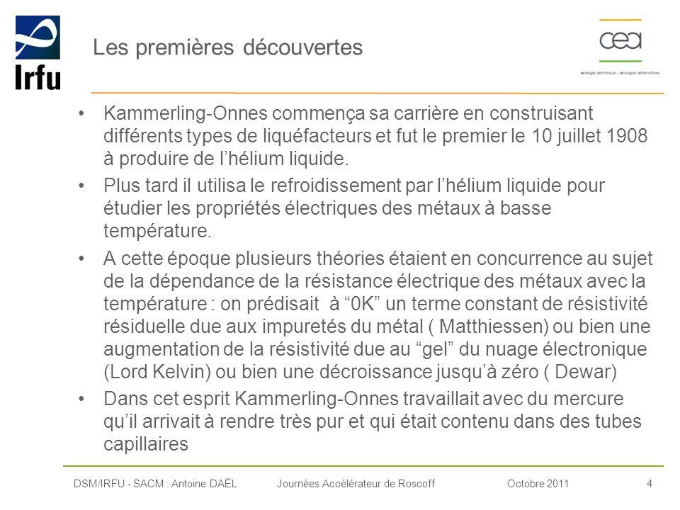 Octobre 20114Journées Accélérateur de Roscoff Les premières découvertes Kammerling-Onnes commença sa carrière en construisant différents types de liqu