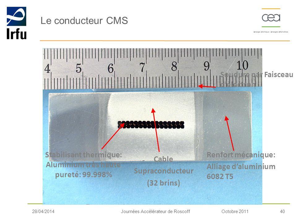 Octobre 201140Journées Accélérateur de Roscoff Le conducteur CMS Cable Supraconducteur (32 brins) Stabilisant thermique: Aluminium très haute pureté: