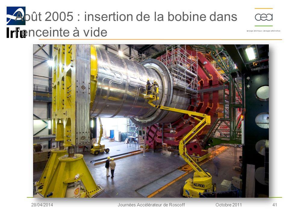 Octobre 201141Journées Accélérateur de Roscoff Août 2005 : insertion de la bobine dans lenceinte à vide 28/04/2014